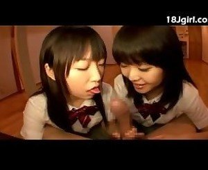 Schoolgirl Friends On A Cock