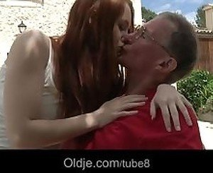 Big boned grandpa satisfy redhead horny teen