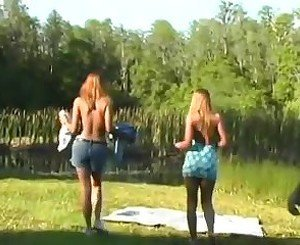 beautiful girl threesome with hairy pussys squirting outdoor
