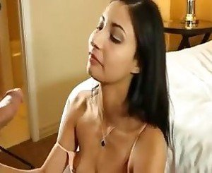 Amateur girl gives a hot cum swallowing blowjob