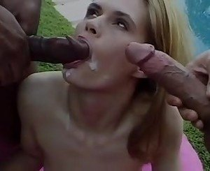 Little Cutie Sucking 2 Big Cocks