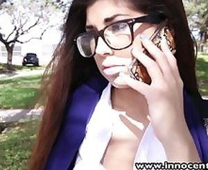 InnocentHigh Hot schoolgirl in nerdy glasses fucked hardcore