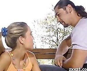 Teen blonde sex outside