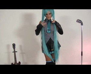 Lovely cosplay babe likes to play music.