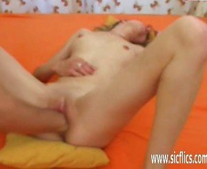 Skinny teen fisting in her ruined pussy