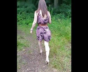 Hot girlfriend fucking outside in nature