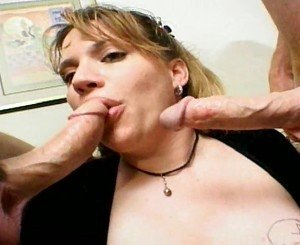 BBW giving a blowjob to the guys