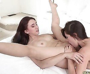 Oral sex with two needy lesbians with curvy lines and shaved pussies