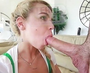 Her little shaved pussy can be used for his sperm