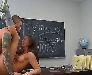Sweetie endures long moments of hardcore while in class