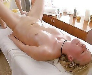 Deep penetration sex on the massage table with a hot blonde