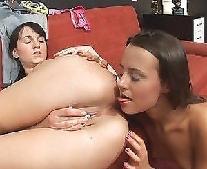 Two teens engage in some sensual lesbian action