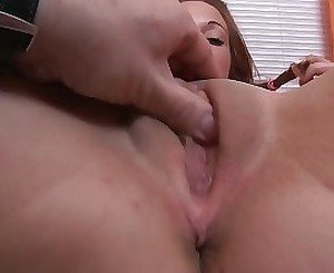 Teen gets her shaved pussy fucked and fingered