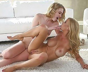 Glamorous teen and mom are having a hot lesbian action