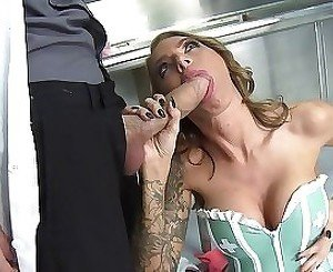 Tattooed hooker is being screwed hard in her wide-opened mouth