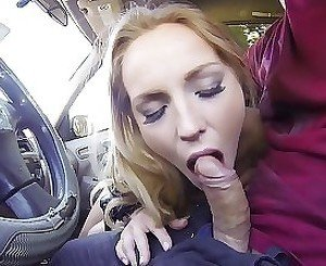 Seduced blonde gives a deepthroat in my car