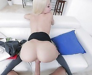 Cutest young blonde rides my hard dick in POV