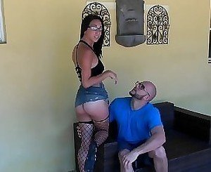 Fishnets-wearing brunette enjoys riding a guy's cock