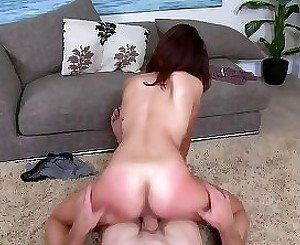 Skinny babe riding a big-dicked guy's boner