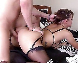 Furious young bitch in stockings rides on a dick in the bedroom