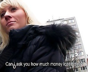 Skillful young blonde is gaining money in a hot way
