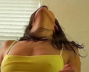 Yellow top brunette girl does a reverse cowgirl