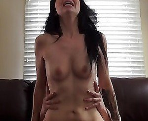 Leggy brunette with natural tits gets pounded real rough