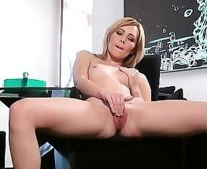 Blonde inserting foreign objects inside her pussy