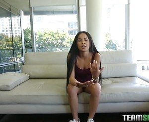 Sweet toned teen is talking dirty on the casting