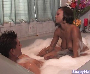 Soapy handjob for a hung guy