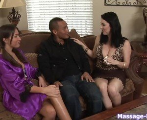 Purple robe brunette fucking a big-dicked dude
